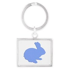 Blue Polka Dot Silhouette Easter Bunny Keychains