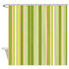 Lime Retro Fun Stripes Shower Curtain