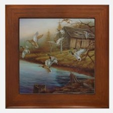 BACKWOODS MALLARDS Framed Tile