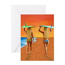 SURFER GIRLS Greeting Cards