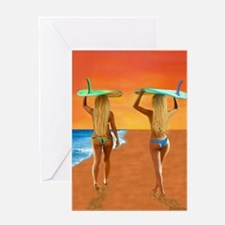 SURFER GIRLS Greeting Cards