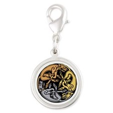 Celtic Chasing Hounds Silver Round Charm