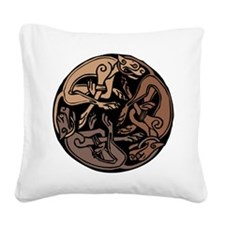 Celtic Chasing Hounds Square Canvas Pillow