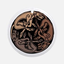 Celtic Chasing Hounds Ornament (Round)