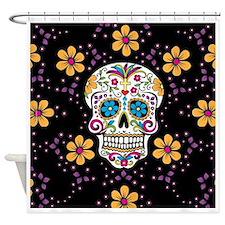 Sugar Skull BLACK Shower Curtain