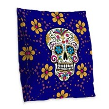 Sugar Skull ROYAL BLUE Burlap Throw Pillow