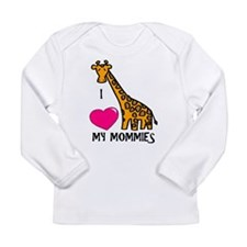 Funny I love my two moms Long Sleeve Infant T-Shirt