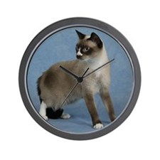 Cute Snowshoe cat Wall Clock