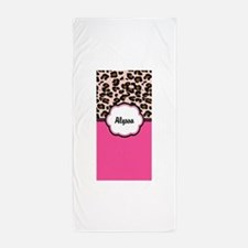 Leopard Print Pink Personalized Beach Towel
