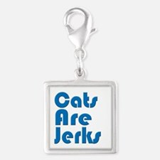 Cats are Jerks Blue Silver Square Charm