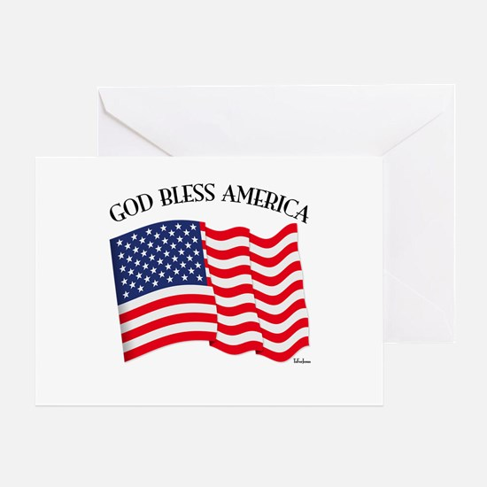 God Bless American With US Flag Greeting Card