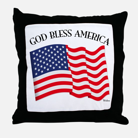 God Bless American With US Flag Throw Pillow
