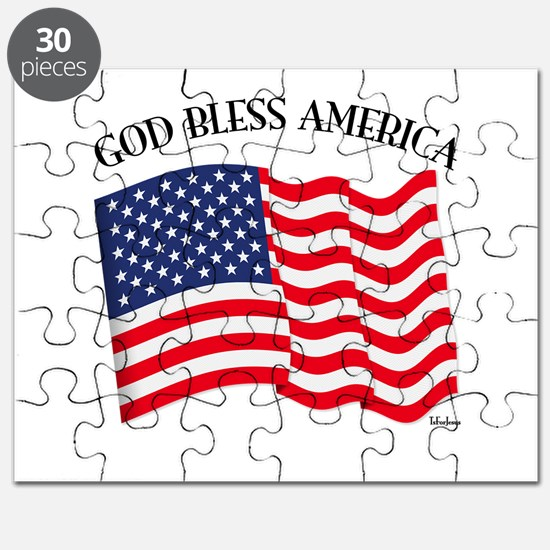 God Bless American With US Flag Puzzle