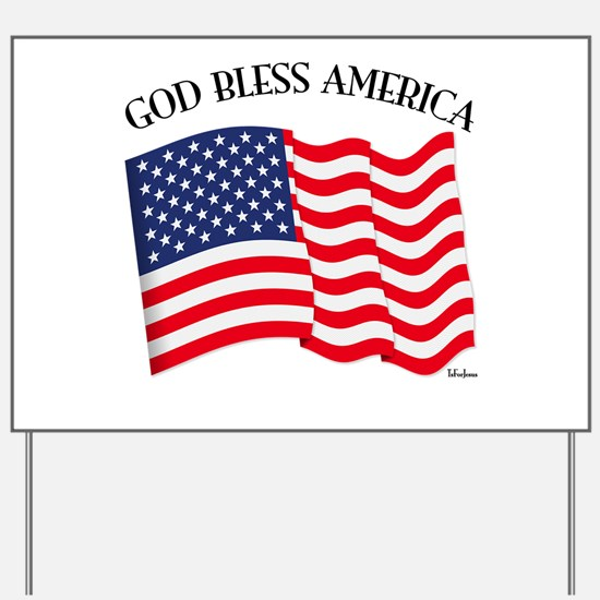 God Bless American With US Flag Yard Sign