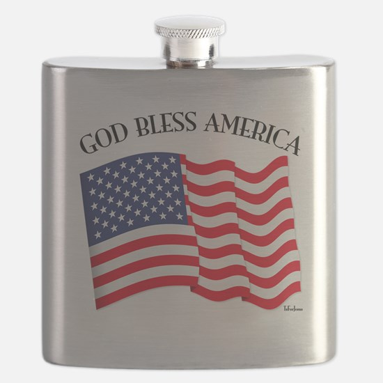 God Bless American With US Flag Flask