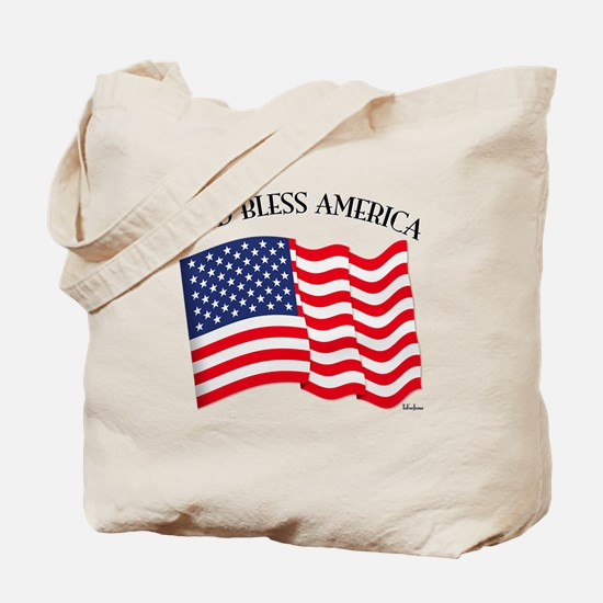 God Bless American With US Flag Tote Bag