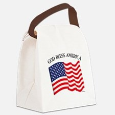 God Bless American With US Flag Canvas Lunch Bag