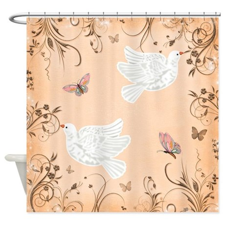Peach doves Shower Curtain by Laurie77