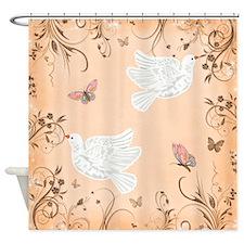 Peach, doves Shower Curtain