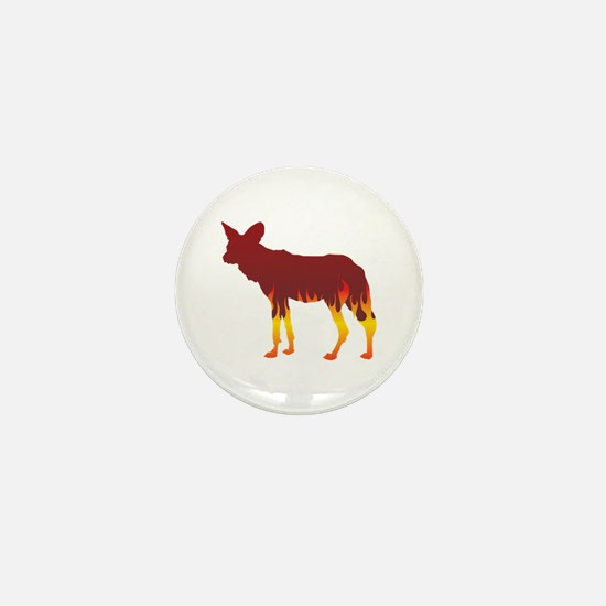 Wild Dog Flames Mini Button