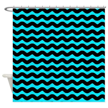 Blue And Black Wavy Pattern Shower Curtain By PatternedShop