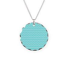 Pastel Aqua Blue Wavy Chevron Necklace