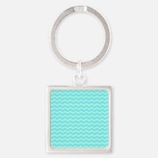 Pastel Aqua Blue Wavy Chevron Keychains