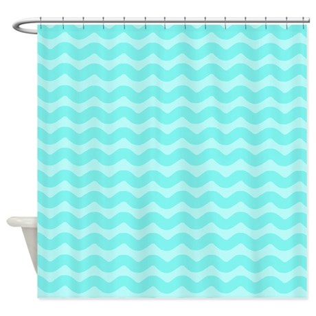 Pastel Aqua Blue Wavy Chevron Shower Curtain By Patternedshop