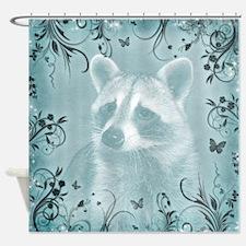 Raccoon Portrait, light blue Shower Curtain