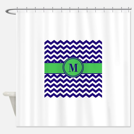 Navy Green Chevron Monogram Shower Curtain