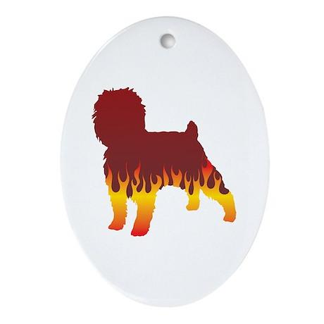 Affenpinscher Flames Oval Ornament