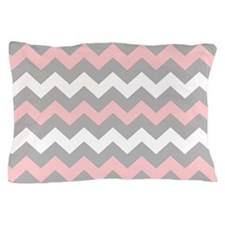 Pink And Gray Chevron Stripes Pillow Case