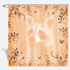 Raccoon Portrait, Peach Shower Curtain