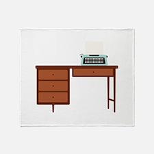 Vintage Desk and Typewriter Throw Blanket