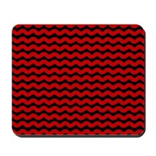 Red and Black Waves Mousepad