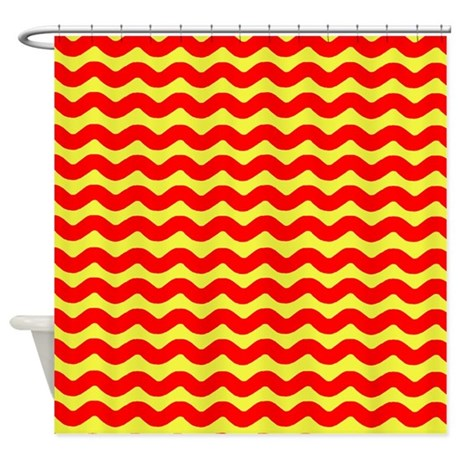 Red And Yellow Wavy Lines Shower Curtain By Patternedshop