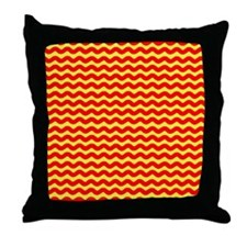 Red and Yellow Wavy Lines Throw Pillow