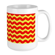 Red and Yellow Wavy Lines Mugs