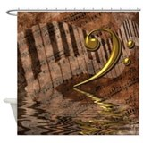 Bass clef Shower Curtains