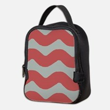 Red and Gray Wave Neoprene Lunch Bag