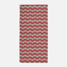 Red and Gray Wave Beach Towel