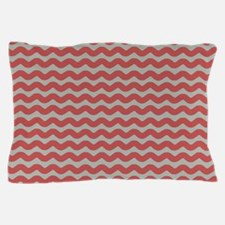 Red and Gray Wave Pillow Case