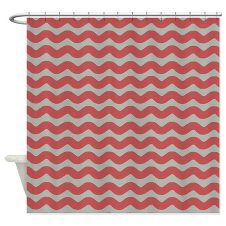 Red And Gray Wave Shower Curtain By PatternedShop