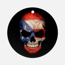 Puerto Rico Flag Skull on Black Ornament (Round)