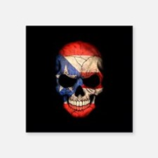 Puerto Rico Flag Skull on Black Sticker