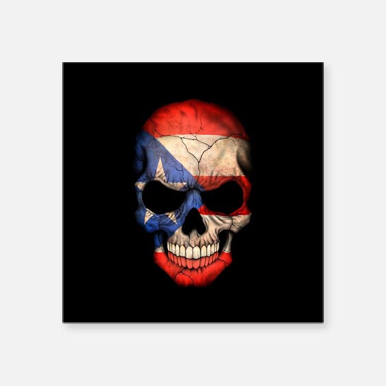 Puerto Rico Flag Skull on Black Sticker
