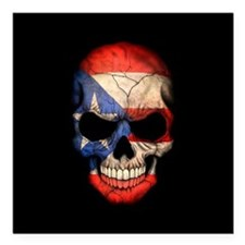Puerto Rico Flag Skull on Black Square Car Magnet