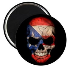Puerto Rico Flag Skull on Black Magnets