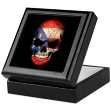 Puerto Rico Flag Skull on Black Keepsake Box