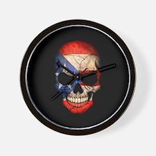 Puerto Rico Flag Skull on Black Wall Clock